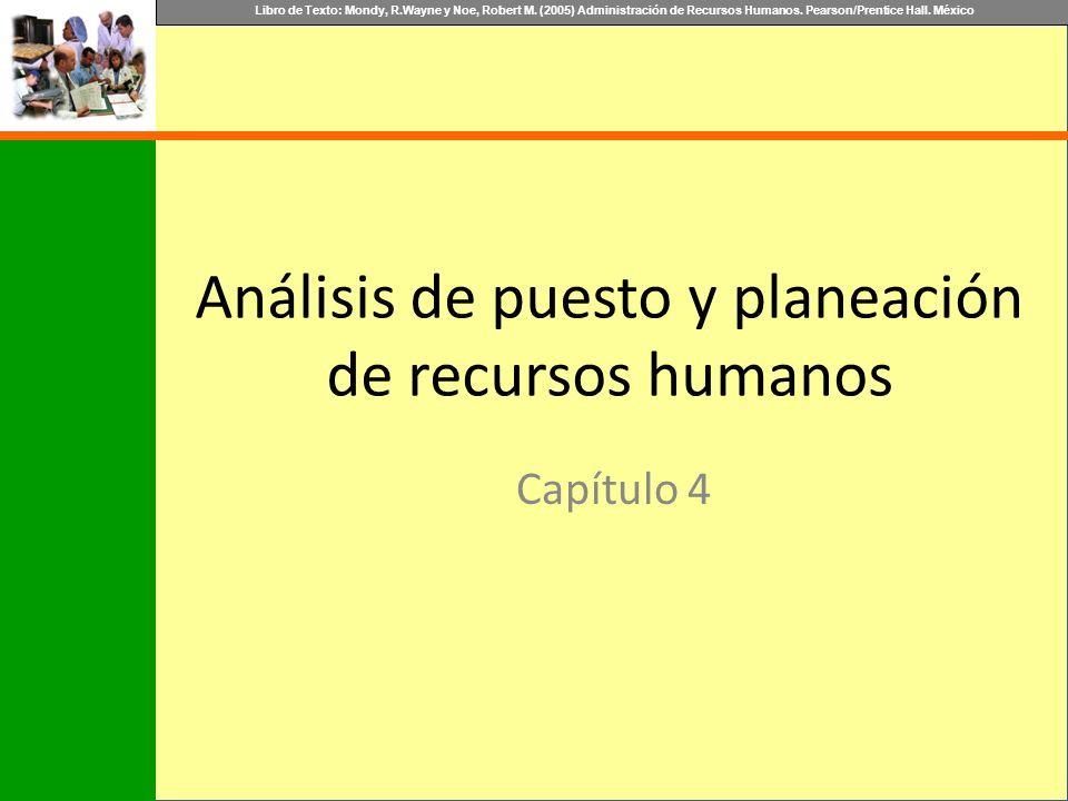 Libro de Texto: Mondy, R.Wayne y Noe, Robert M. (2005) Administración de Recursos Humanos. Pearson/Prentice Hall. México Análisis de puesto y planeaci