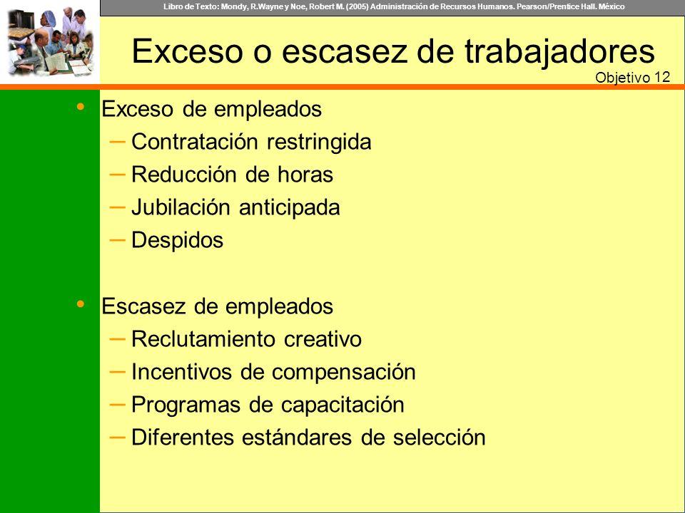 Libro de Texto: Mondy, R.Wayne y Noe, Robert M. (2005) Administración de Recursos Humanos. Pearson/Prentice Hall. México Exceso o escasez de trabajado