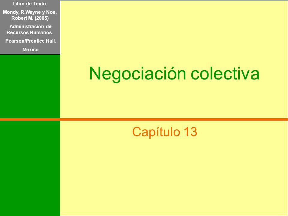 Libro de Texto: Mondy, R.Wayne y Noe, Robert M. (2005) Administración de Recursos Humanos. Pearson/Prentice Hall. México Negociación colectiva Capítul