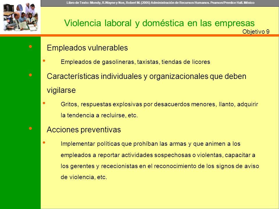 Libro de Texto: Mondy, R.Wayne y Noe, Robert M. (2005) Administración de Recursos Humanos. Pearson/Prentice Hall. México Objetivo Violencia laboral y