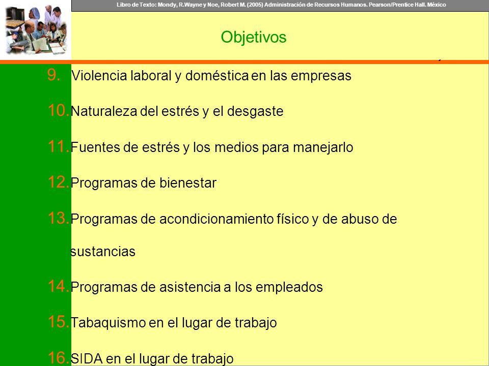 Libro de Texto: Mondy, R.Wayne y Noe, Robert M. (2005) Administración de Recursos Humanos. Pearson/Prentice Hall. México Objetivo Objetivos 9. Violenc
