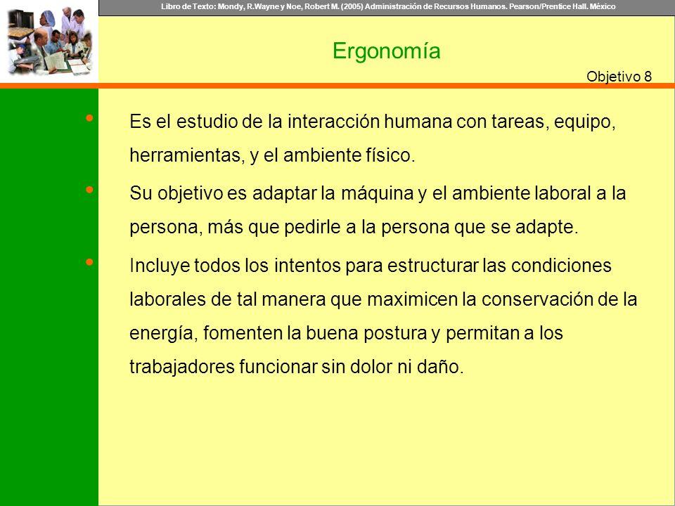 Libro de Texto: Mondy, R.Wayne y Noe, Robert M. (2005) Administración de Recursos Humanos. Pearson/Prentice Hall. México Objetivo Ergonomía 8 Es el es
