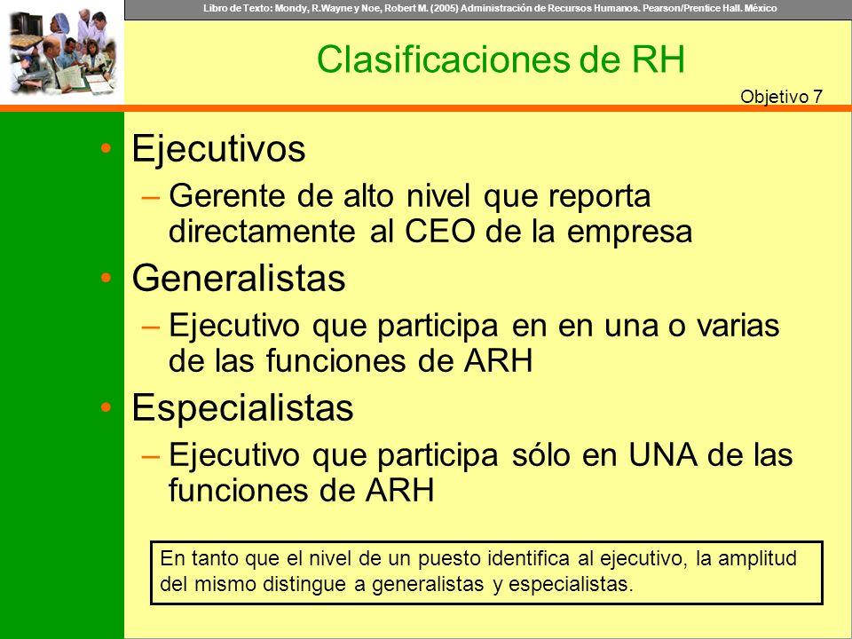 Libro de Texto: Mondy, R.Wayne y Noe, Robert M. (2005) Administración de Recursos Humanos. Pearson/Prentice Hall. México Objetivo Clasificaciones de R