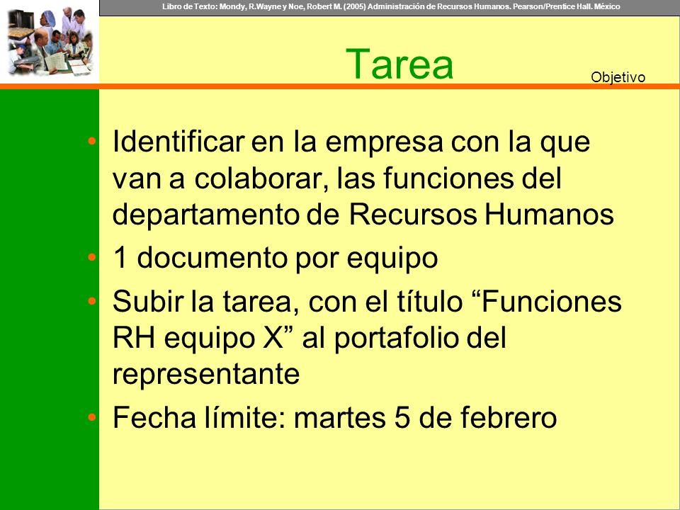 Libro de Texto: Mondy, R.Wayne y Noe, Robert M. (2005) Administración de Recursos Humanos. Pearson/Prentice Hall. México Objetivo Tarea Identificar en