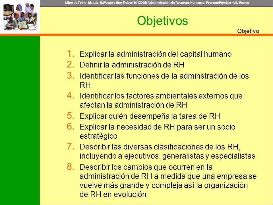 Libro de Texto: Mondy, R.Wayne y Noe, Robert M. (2005) Administración de Recursos Humanos. Pearson/Prentice Hall. México Objetivo Objetivos 1. Explica
