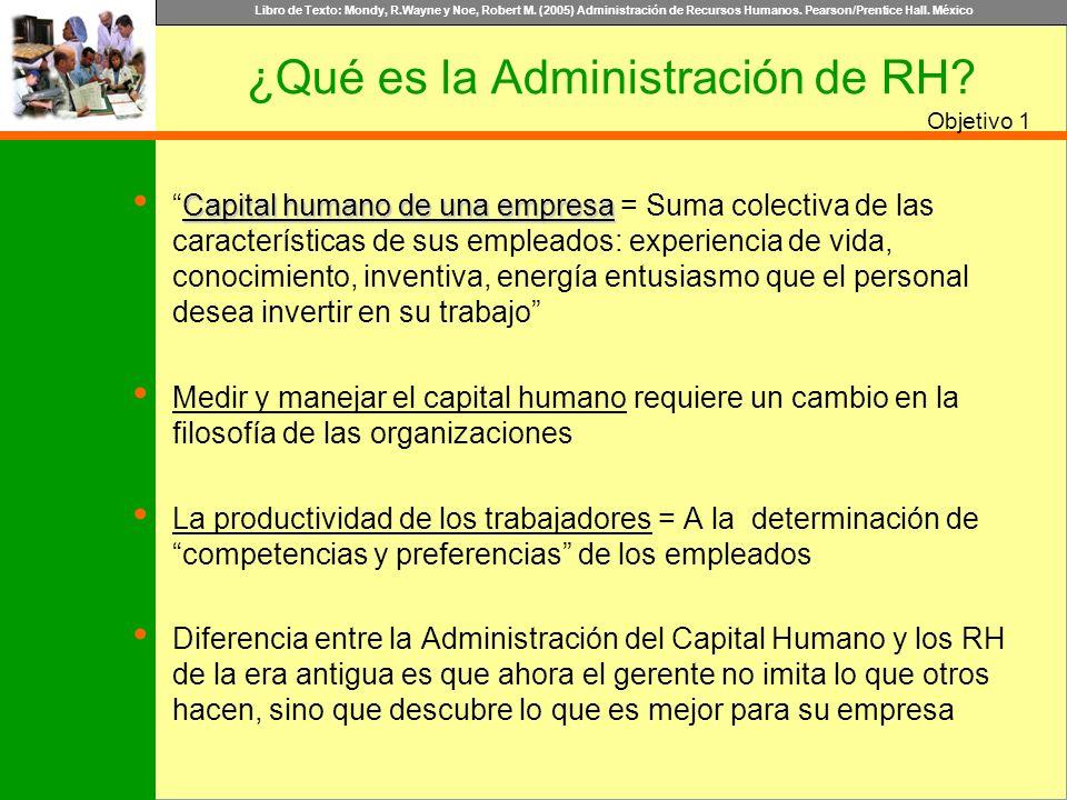 Libro de Texto: Mondy, R.Wayne y Noe, Robert M. (2005) Administración de Recursos Humanos. Pearson/Prentice Hall. México Objetivo Capital humano de un
