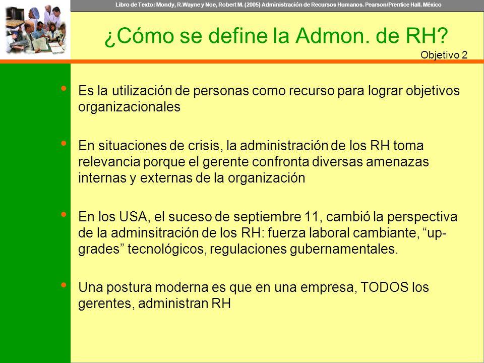 Libro de Texto: Mondy, R.Wayne y Noe, Robert M. (2005) Administración de Recursos Humanos. Pearson/Prentice Hall. México Objetivo Es la utilización de