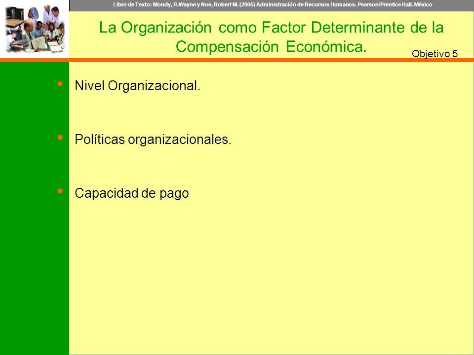 Libro de Texto: Mondy, R.Wayne y Noe, Robert M. (2005) Administración de Recursos Humanos. Pearson/Prentice Hall. México Objetivo Nivel Organizacional