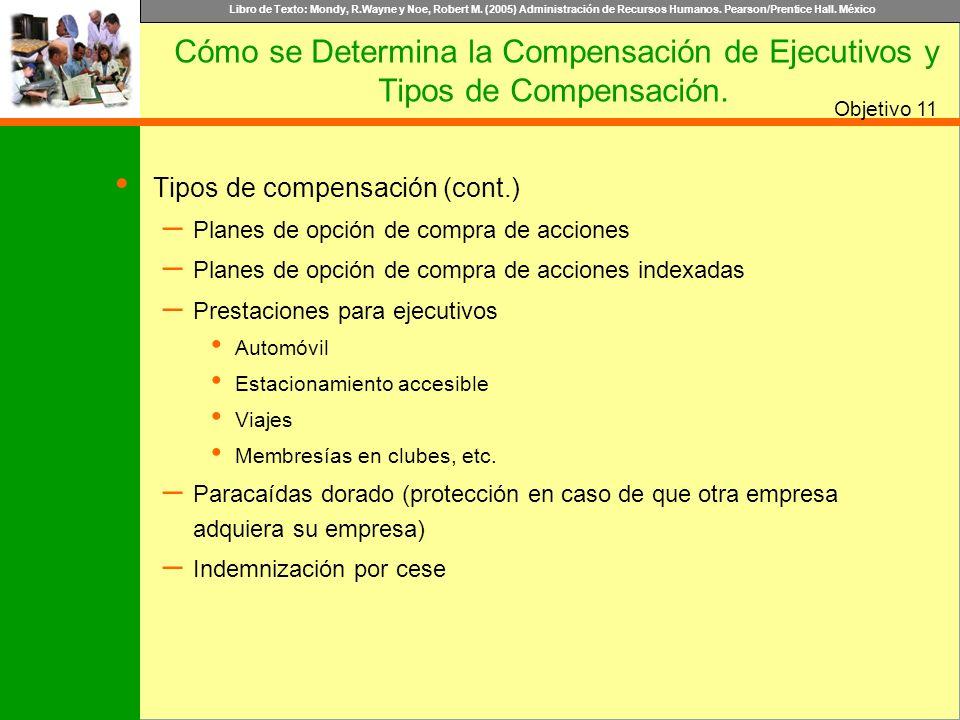Libro de Texto: Mondy, R.Wayne y Noe, Robert M. (2005) Administración de Recursos Humanos. Pearson/Prentice Hall. México Objetivo Tipos de compensació