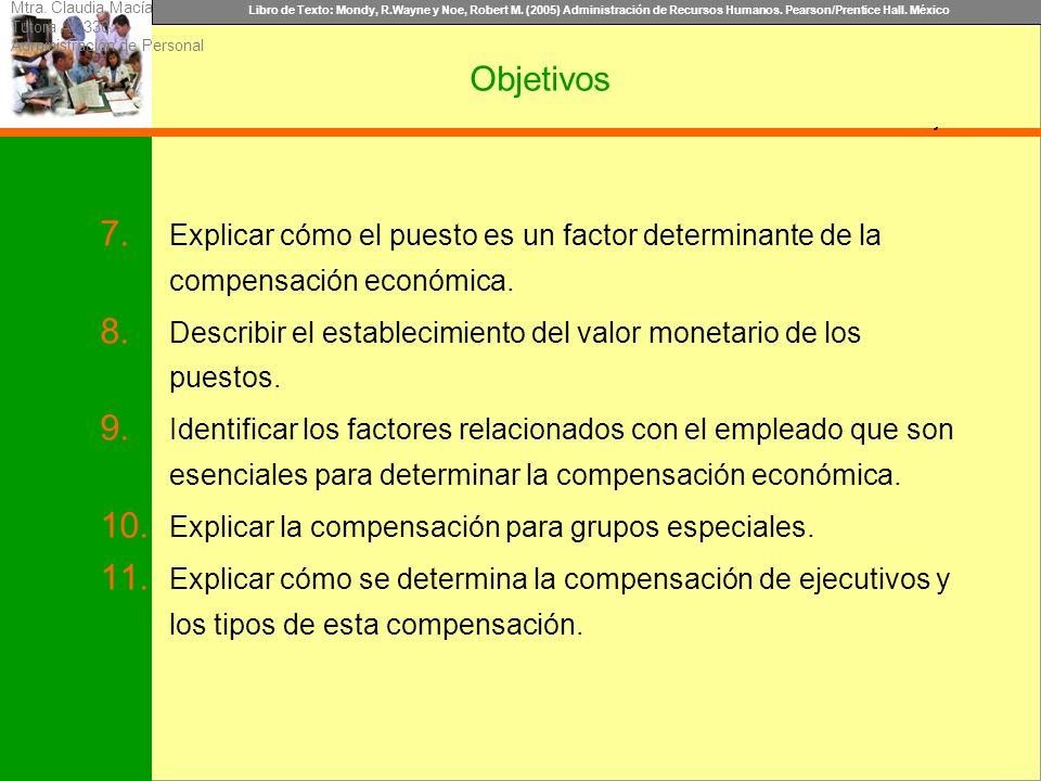 Libro de Texto: Mondy, R.Wayne y Noe, Robert M. (2005) Administración de Recursos Humanos. Pearson/Prentice Hall. México Objetivo Objetivos 7. Explica