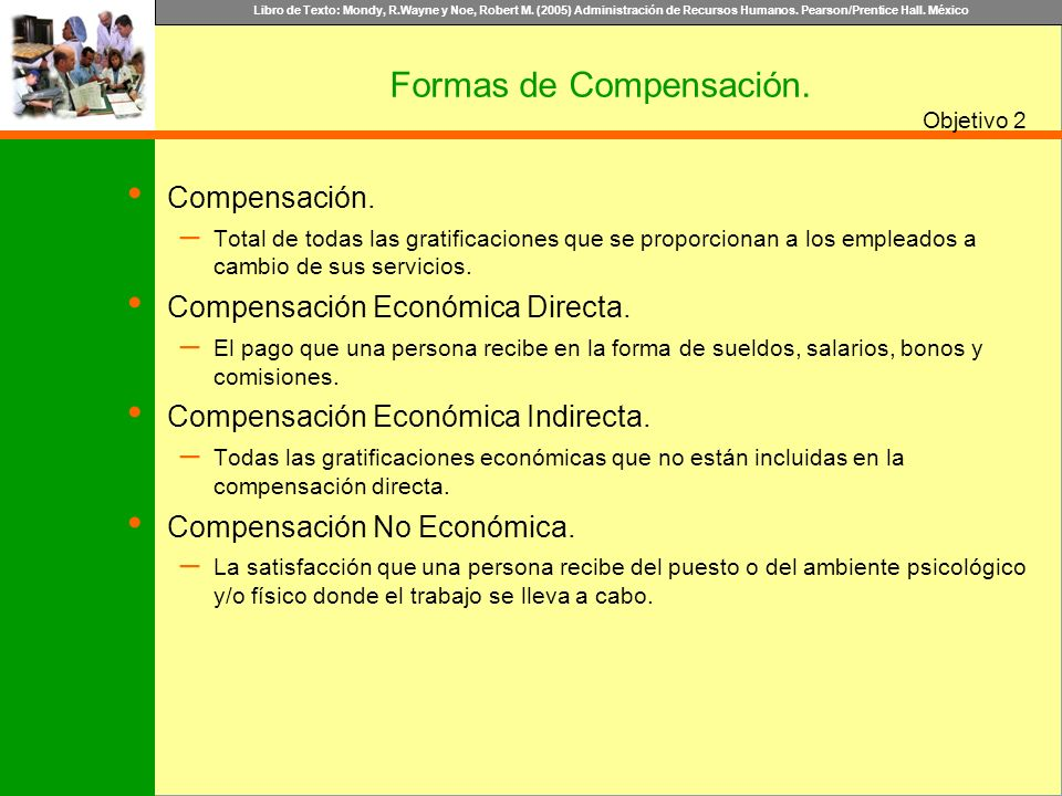 Libro de Texto: Mondy, R.Wayne y Noe, Robert M. (2005) Administración de Recursos Humanos. Pearson/Prentice Hall. México Objetivo Compensación. – Tota