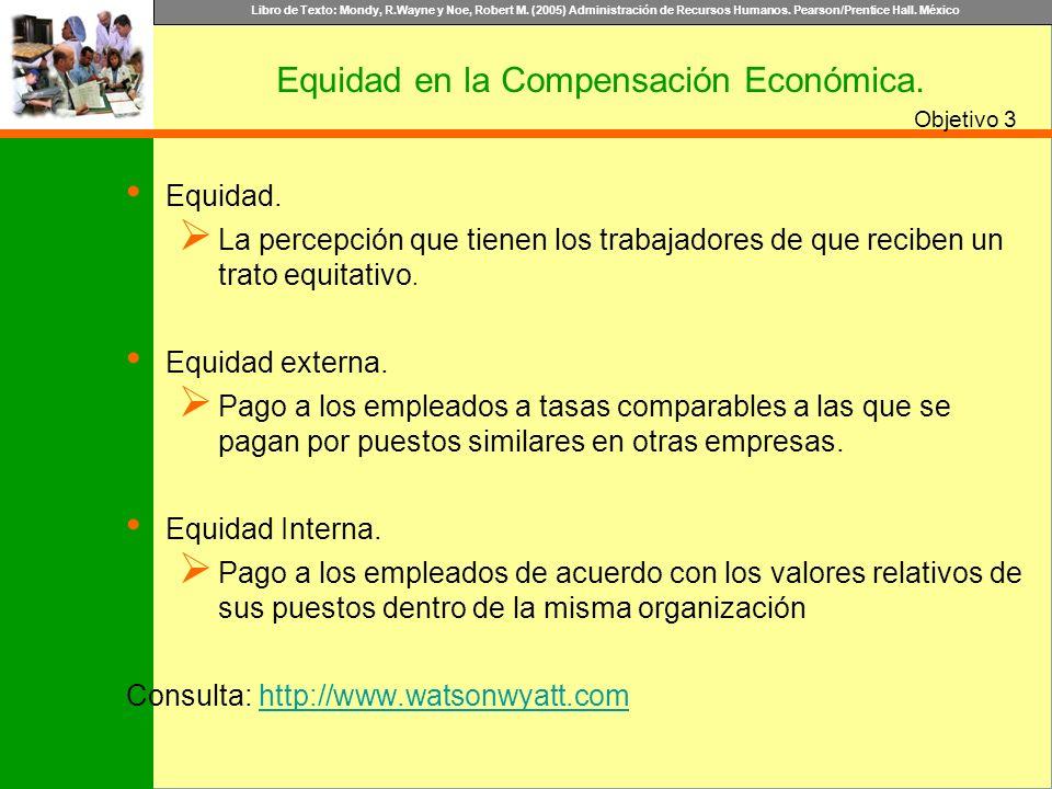 Libro de Texto: Mondy, R.Wayne y Noe, Robert M. (2005) Administración de Recursos Humanos. Pearson/Prentice Hall. México Objetivo 3 Equidad en la Comp