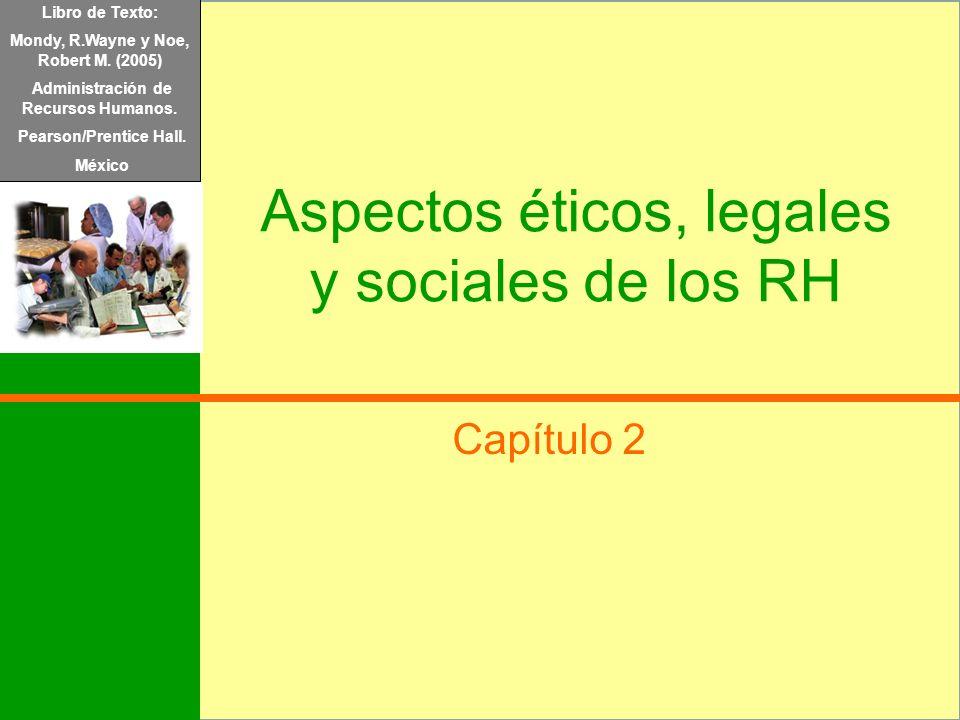 Libro de Texto: Mondy, R.Wayne y Noe, Robert M. (2005) Administración de Recursos Humanos. Pearson/Prentice Hall. México Aspectos éticos, legales y so