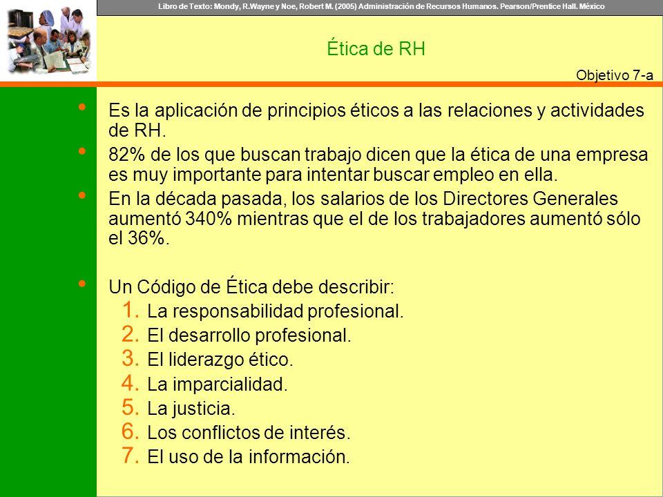 Libro de Texto: Mondy, R.Wayne y Noe, Robert M. (2005) Administración de Recursos Humanos. Pearson/Prentice Hall. México Objetivo Ética de RH Es la ap