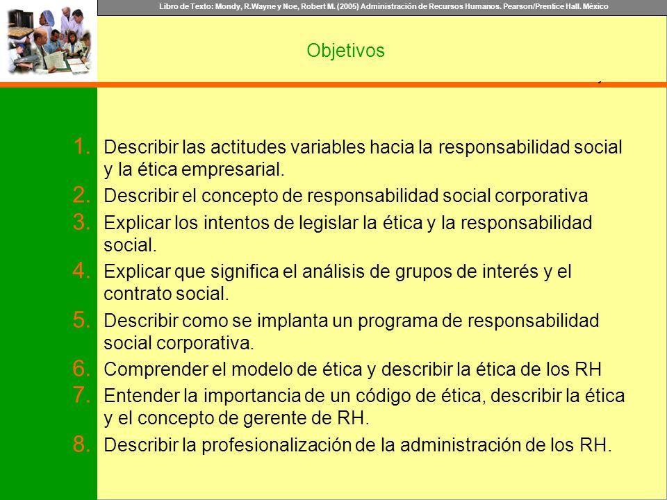 Libro de Texto: Mondy, R.Wayne y Noe, Robert M. (2005) Administración de Recursos Humanos. Pearson/Prentice Hall. México Objetivo Objetivos 1. Describ