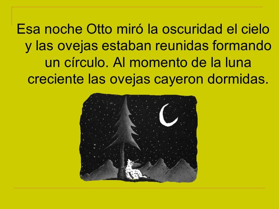 Esa noche Otto miró la oscuridad el cielo y las ovejas estaban reunidas formando un círculo. Al momento de la luna creciente las ovejas cayeron dormid