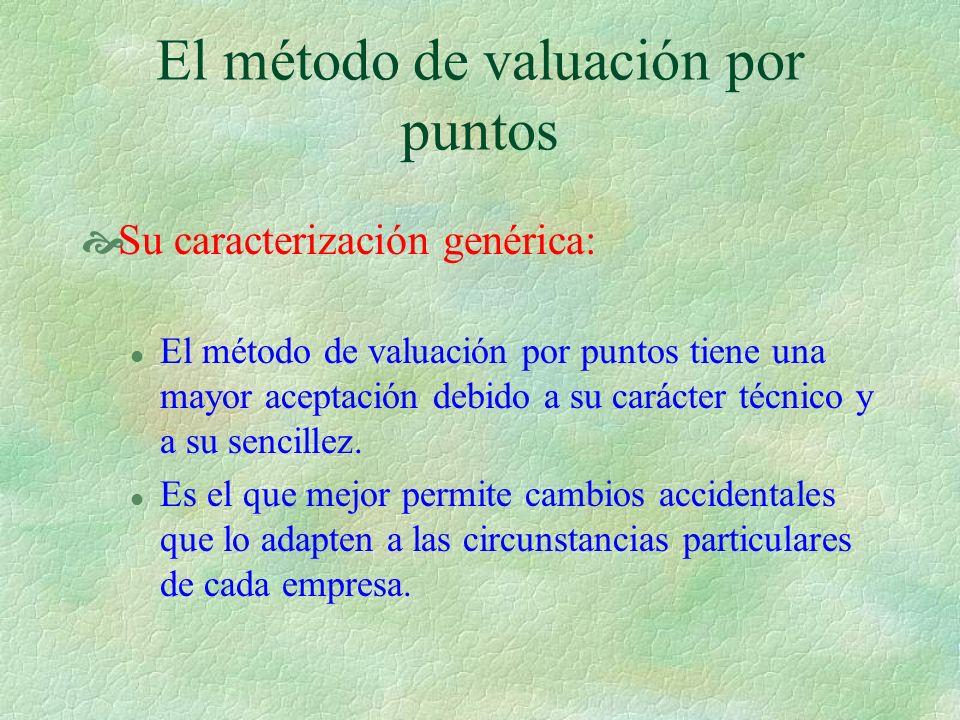 El método de valuación por puntos Su caracterización genérica: l El método de valuación por puntos tiene una mayor aceptación debido a su carácter técnico y a su sencillez.