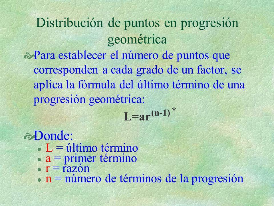 Para establecer el número de puntos que corresponden a cada grado de un factor, se aplica la fórmula del último término de una progresión geométrica: L=ar Donde: l L = último término l a = primer término l r = razón l n = número de términos de la progresión Distribución de puntos en progresión geométrica (n-1) *
