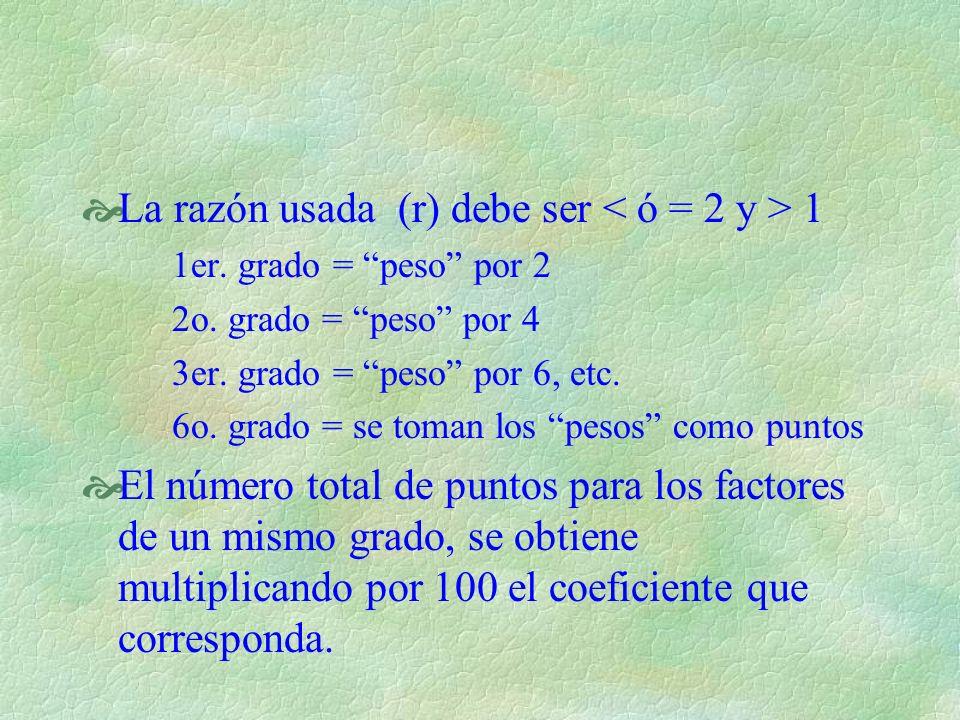 La razón usada (r) debe ser 1 1er. grado = peso por 2 2o. grado = peso por 4 3er. grado = peso por 6, etc. 6o. grado = se toman los pesos como puntos
