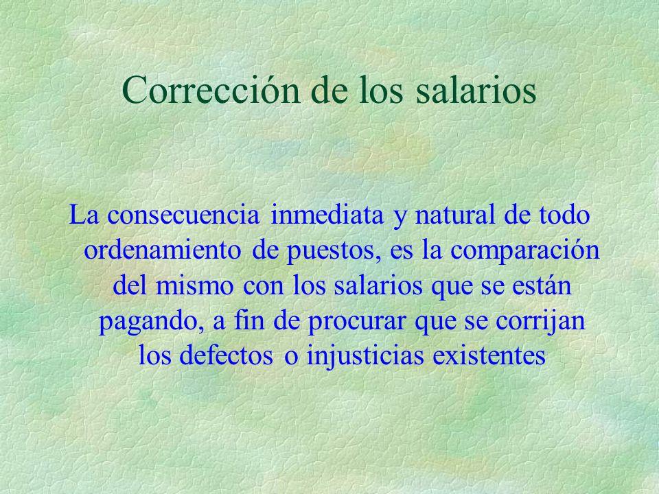 Corrección de los salarios La consecuencia inmediata y natural de todo ordenamiento de puestos, es la comparación del mismo con los salarios que se es