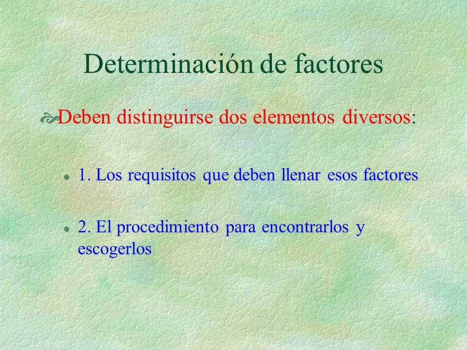 Determinación de factores Deben distinguirse dos elementos diversos: l 1. Los requisitos que deben llenar esos factores l 2. El procedimiento para enc