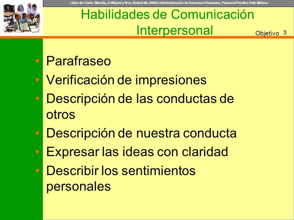 Libro de Texto: Mondy, R.Wayne y Noe, Robert M. (2005) Administración de Recursos Humanos. Pearson/Prentice Hall. México Objetivo Habilidades de Comun