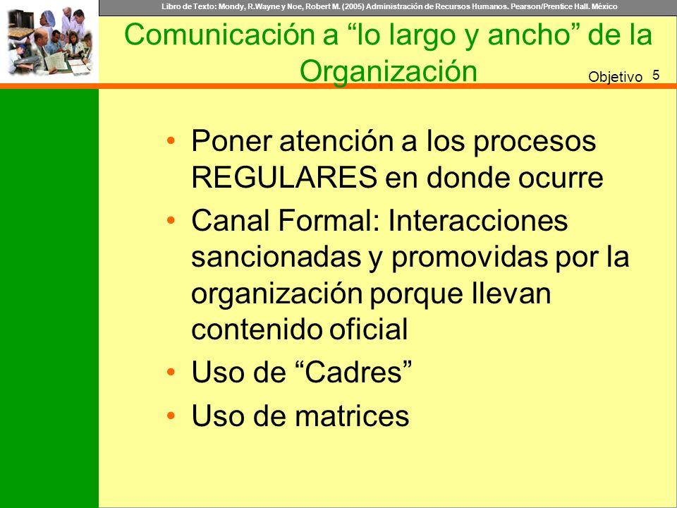 Libro de Texto: Mondy, R.Wayne y Noe, Robert M. (2005) Administración de Recursos Humanos. Pearson/Prentice Hall. México Objetivo Comunicación a lo la