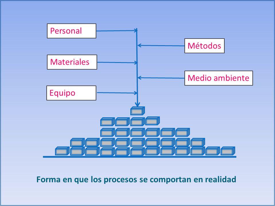 Personal Materiales Equipo Métodos Medio ambiente Forma en que los procesos se comportan en realidad