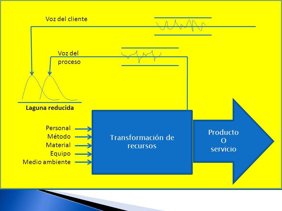 Voz del cliente Transformación de Producto O servicio Voz del proceso Laguna Personal Método Material Equipo Medio ambiente