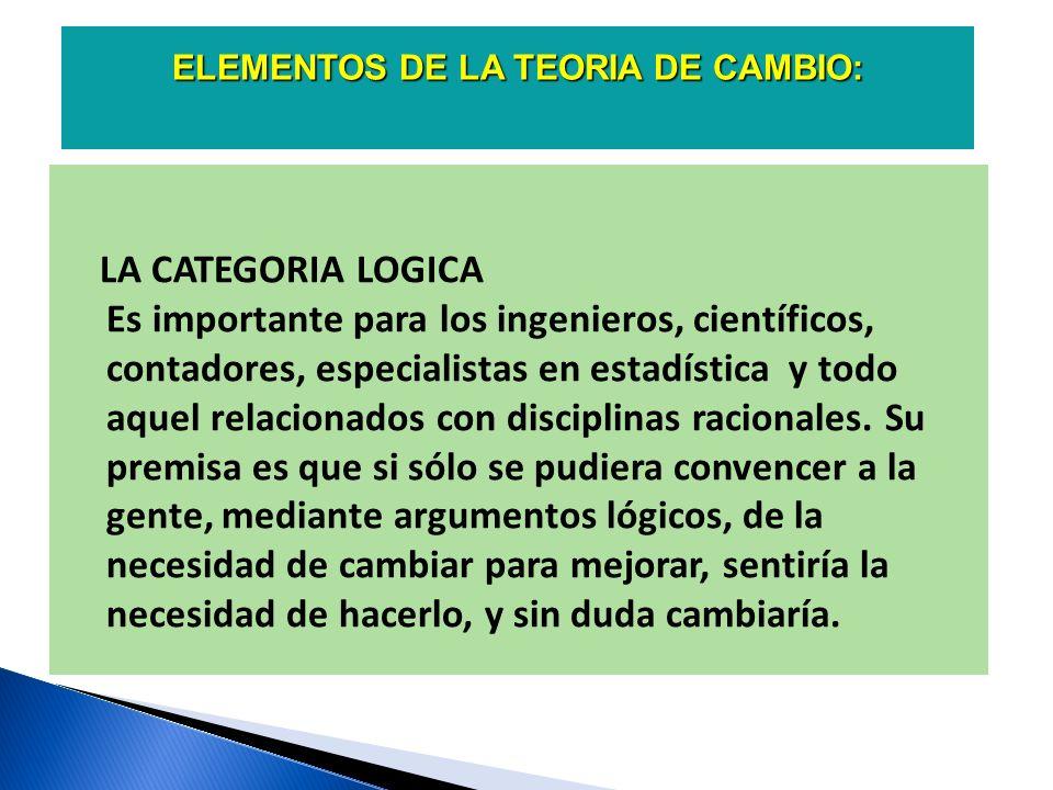 ELEMENTOS DE LA TEORIA DE CAMBIO: LA CATEGORIA FISICA Con frecuencia, La categoría física es la que domina en los trabajadores y en los ejecutivos.
