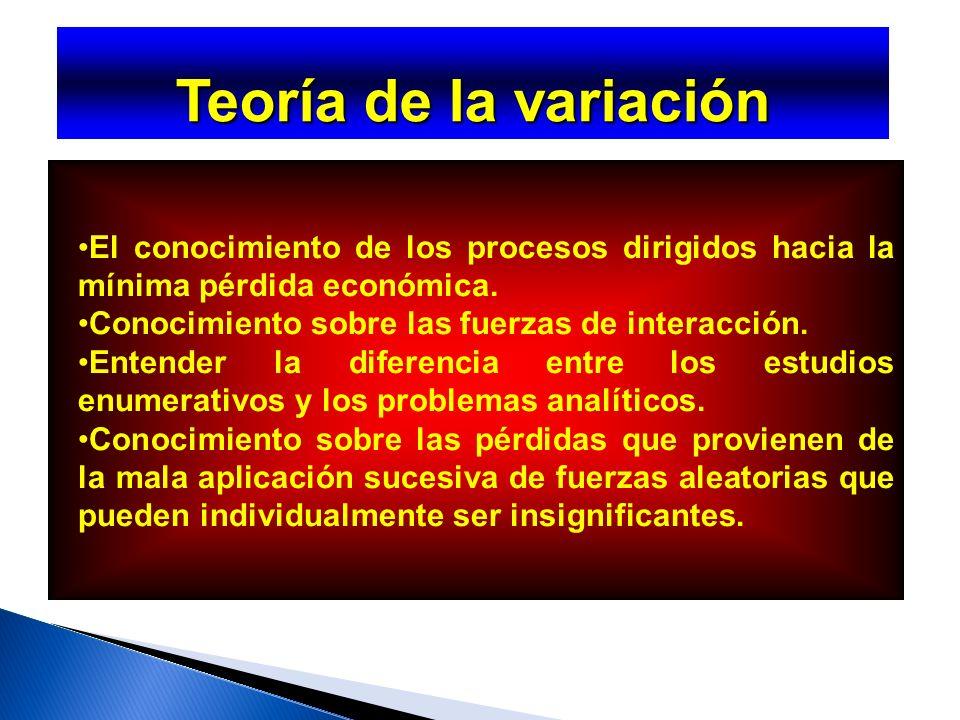 Teoría de la variación Los conocimientos que debe contener esta teoría: Algún entendimiento de la variación.