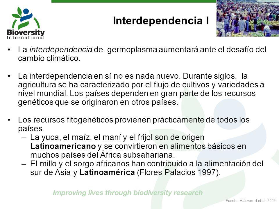 Interdependencia I La interdependencia de germoplasma aumentará ante el desafío del cambio climático. La interdependencia en sí no es nada nuevo. Dura