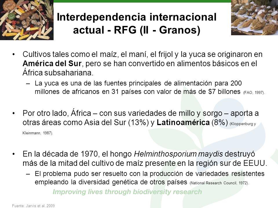 Interdependencia internacional actual - RFG (II - Granos) Cultivos tales como el maíz, el maní, el frijol y la yuca se originaron en América del Sur,
