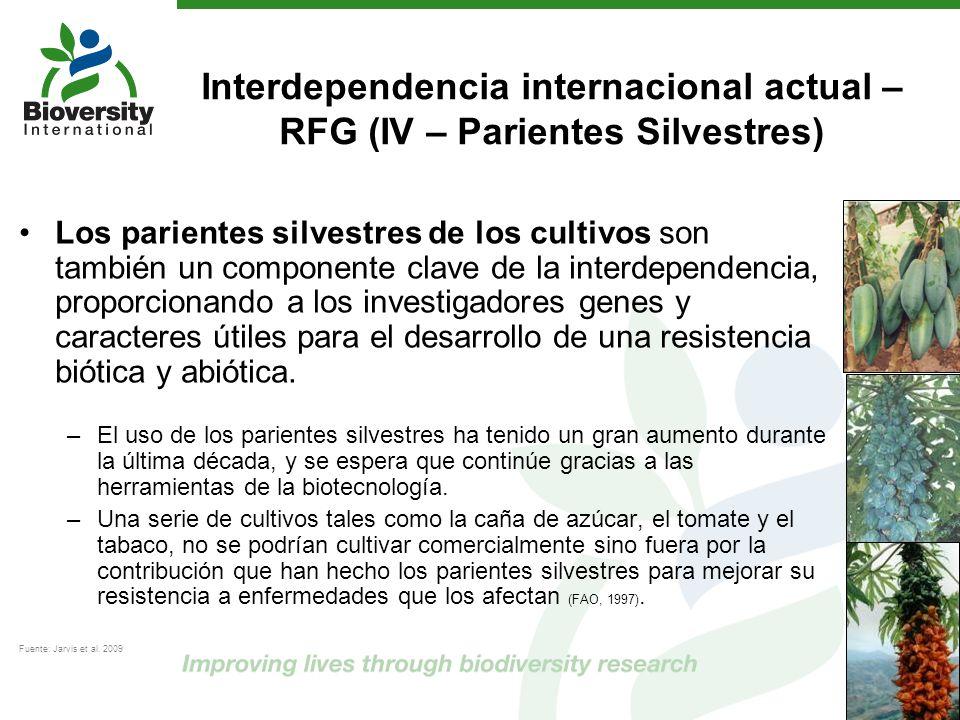 Interdependencia internacional actual – RFG (IV – Parientes Silvestres) Los parientes silvestres de los cultivos son también un componente clave de la