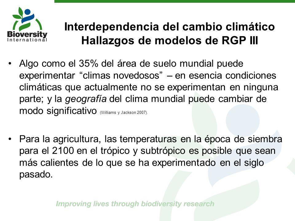 Interdependencia del cambio climático Hallazgos de modelos de RGP III Algo como el 35% del área de suelo mundial puede experimentar climas novedosos –
