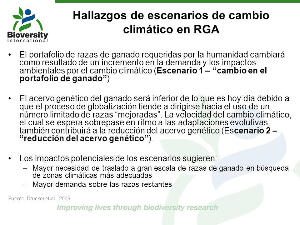 Hallazgos de escenarios de cambio climático en RGA El portafolio de razas de ganado requeridas por la humanidad cambiará como resultado de un incremen