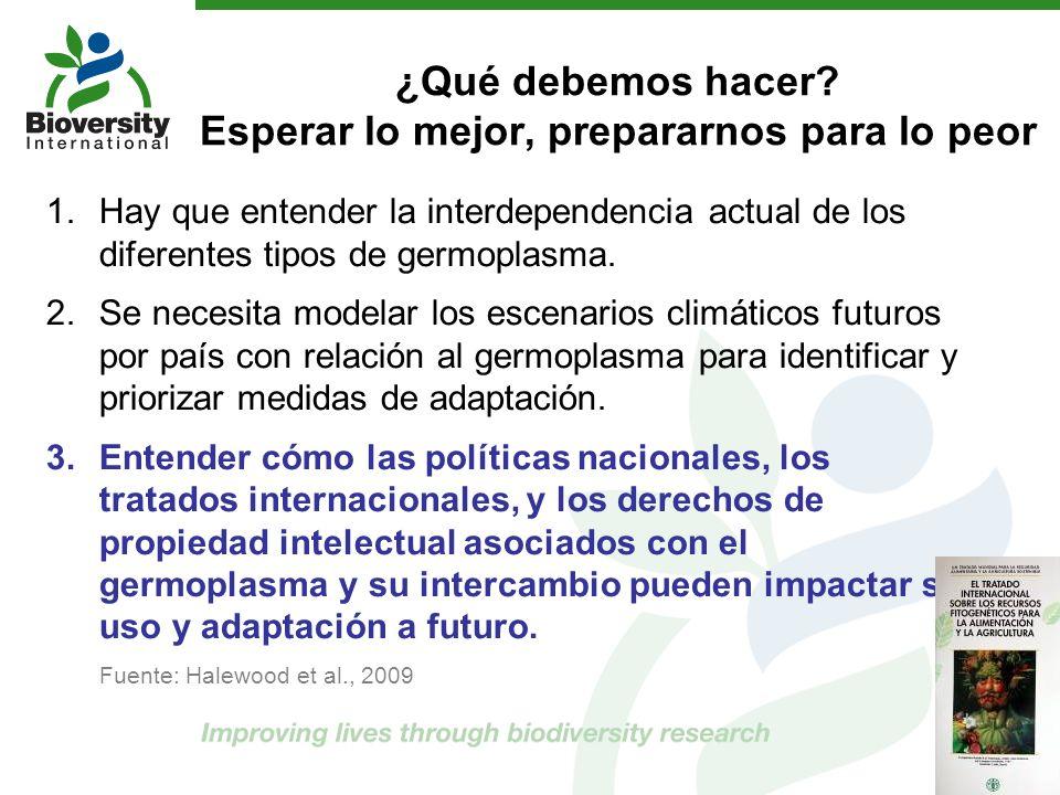 ¿Qué debemos hacer? Esperar lo mejor, prepararnos para lo peor 1.Hay que entender la interdependencia actual de los diferentes tipos de germoplasma. 2