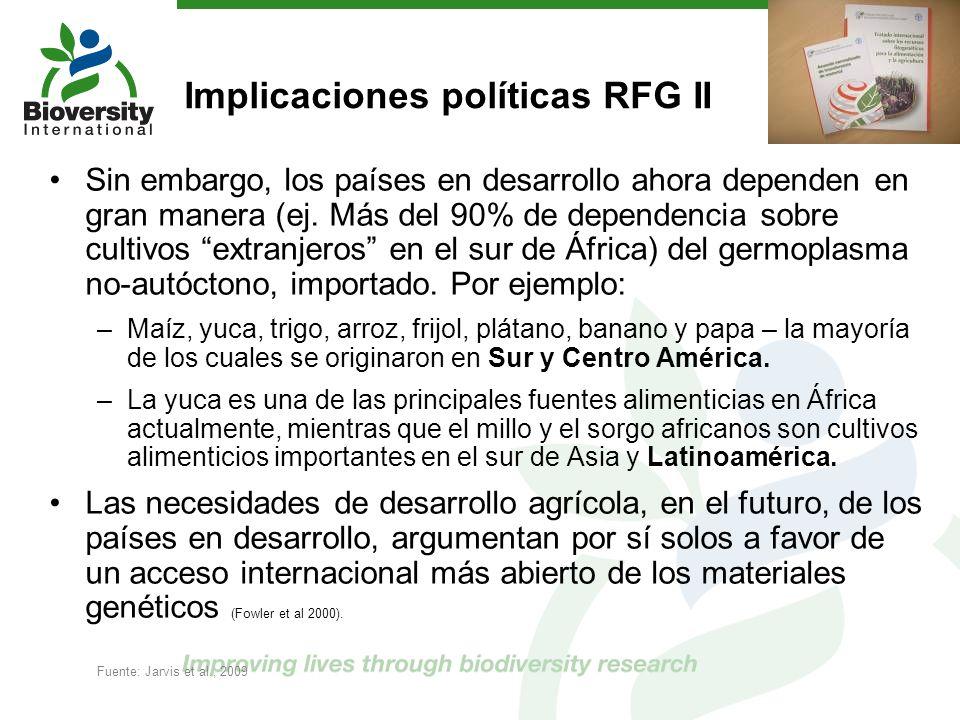 Implicaciones políticas RFG II Sin embargo, los países en desarrollo ahora dependen en gran manera (ej. Más del 90% de dependencia sobre cultivos extr