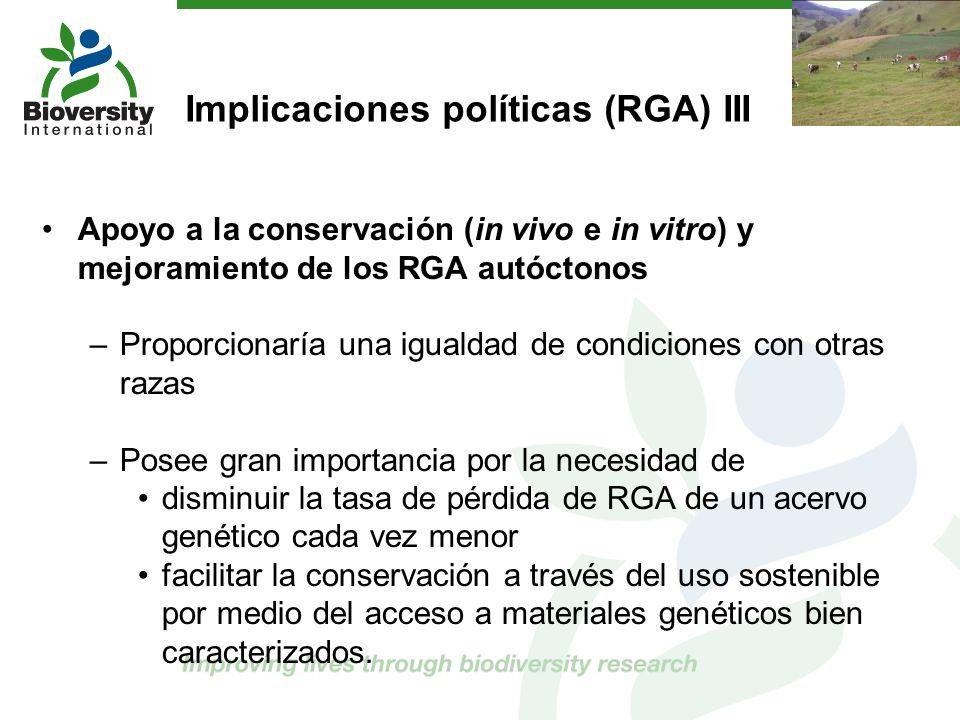 Implicaciones políticas (RGA) III Apoyo a la conservación (in vivo e in vitro) y mejoramiento de los RGA autóctonos –Proporcionaría una igualdad de co
