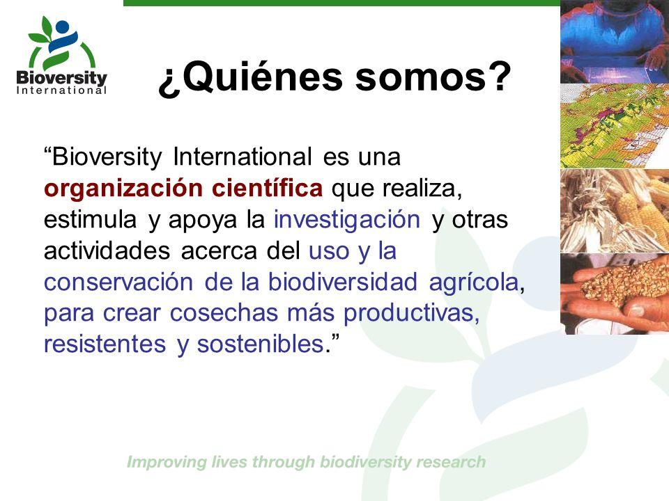 ¿Quiénes somos? Bioversity International es una organización científica que realiza, estimula y apoya la investigación y otras actividades acerca del