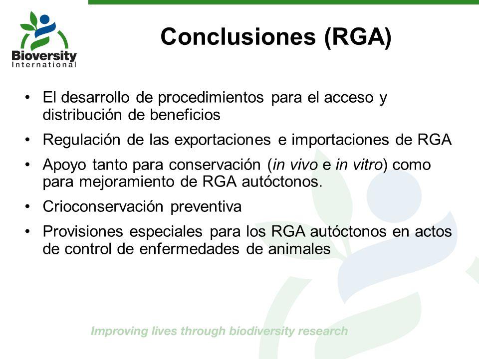El desarrollo de procedimientos para el acceso y distribución de beneficios Regulación de las exportaciones e importaciones de RGA Apoyo tanto para co