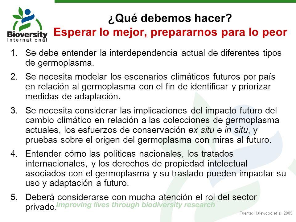 ¿Qué debemos hacer? Esperar lo mejor, prepararnos para lo peor 1.Se debe entender la interdependencia actual de diferentes tipos de germoplasma. 2.Se
