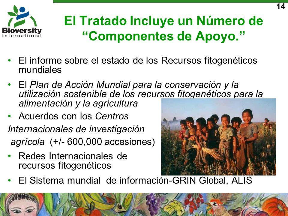 14 El Tratado Incluye un Número de Componentes de Apoyo. El informe sobre el estado de los Recursos fitogenéticos mundiales El Plan de Acción Mundial