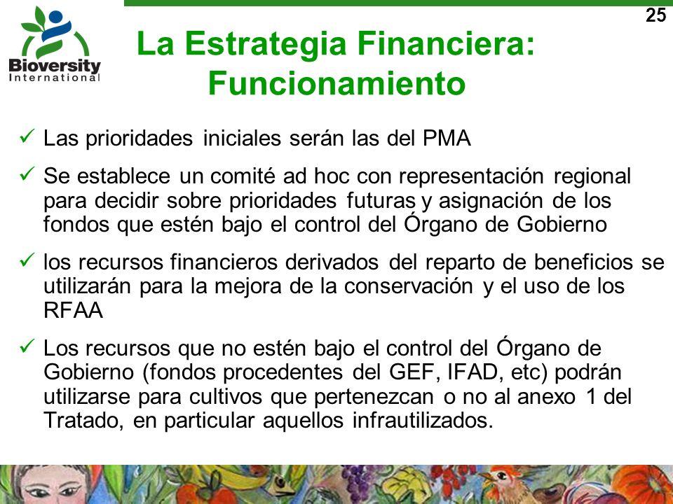 25 La Estrategia Financiera: Funcionamiento Las prioridades iniciales serán las del PMA Se establece un comité ad hoc con representación regional para