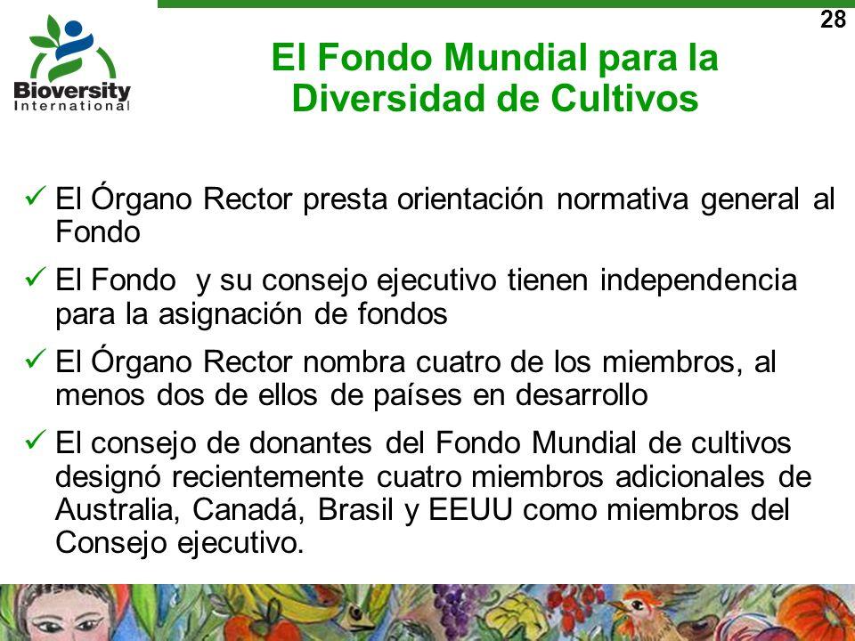 28 El Fondo Mundial para la Diversidad de Cultivos El Órgano Rector presta orientación normativa general al Fondo El Fondo y su consejo ejecutivo tien