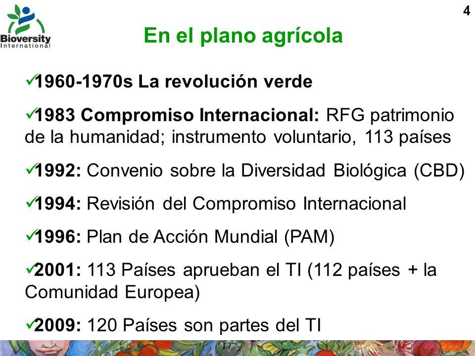 5 El CBD Adoptado en 1994 por 190 partes (189 países mas UE) Reconoció la soberanía nacional sobre la biodiversidad y la regulación al acceso de los RFG y a obtener parte de sus beneficios Paralizó el intercambio de los RFG Mientras, el compromiso Internacional estaba siendo negociado con la FAO para alinearlo con el CBD El estimulo para las negociaciones fue regularizar el estatus legal del germoplasma conservado en los bancos del germoplasma bajo custodia de CGIAR El sucesor al compromiso para regularizar esta situación fue el Tratado Internacional