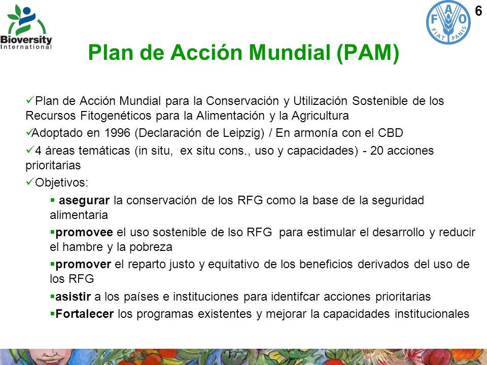 7 El Tratado Internacional Objetivos: La conservación y uso sostenible de los RFG para la alimentación y la agricultura La distribución justa y equitativa de los beneficios derivados de su utilización en armonía con el CBD Promover la agricultura sustentable y la seguridad alimentaria