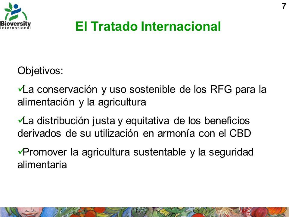 7 El Tratado Internacional Objetivos: La conservación y uso sostenible de los RFG para la alimentación y la agricultura La distribución justa y equita