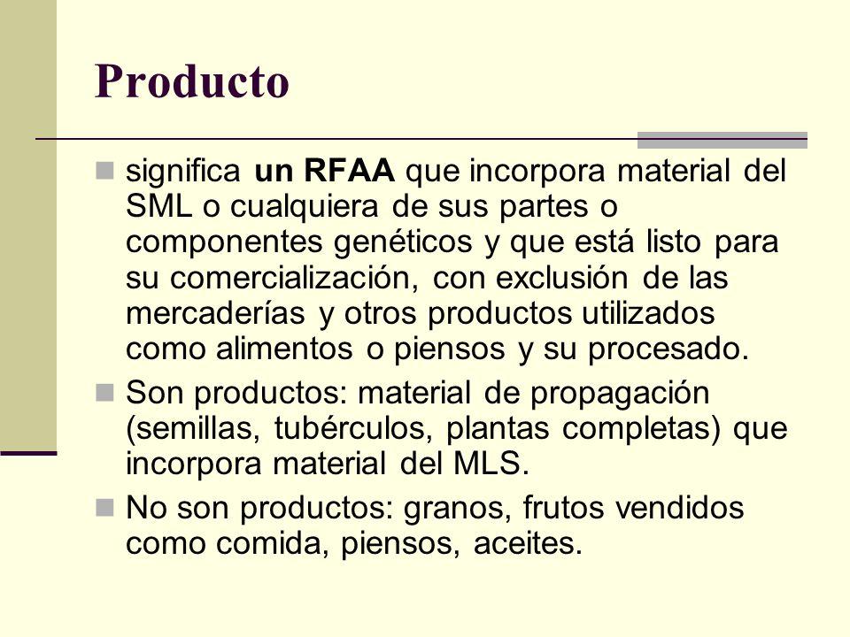 Producto significa un RFAA que incorpora material del SML o cualquiera de sus partes o componentes genéticos y que está listo para su comercialización, con exclusión de las mercaderías y otros productos utilizados como alimentos o piensos y su procesado.