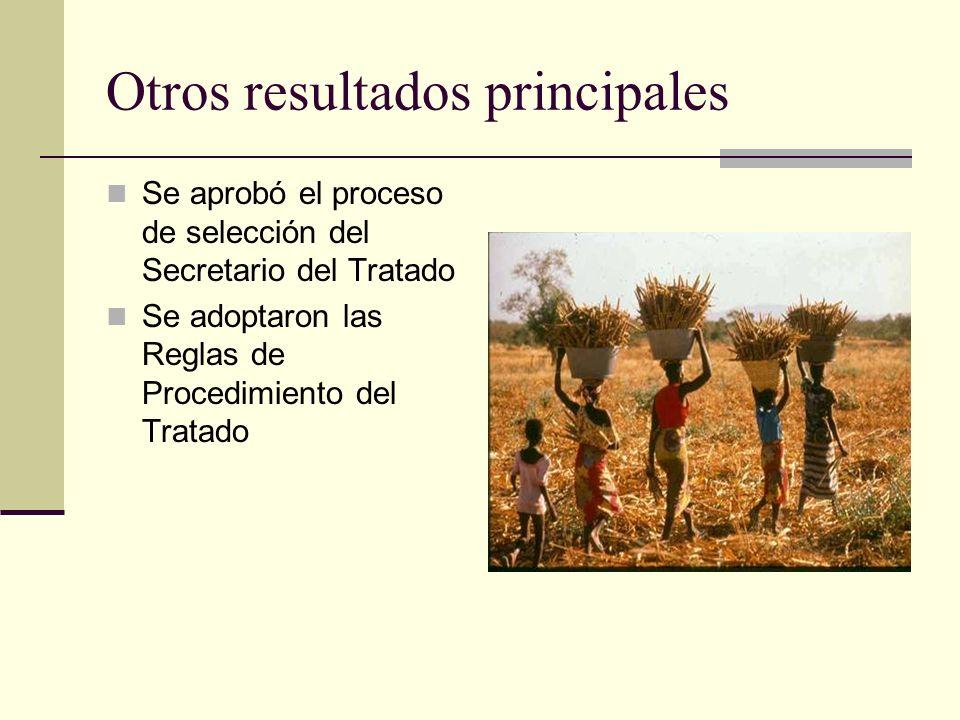 Otros resultados principales Se aprobó el proceso de selección del Secretario del Tratado Se adoptaron las Reglas de Procedimiento del Tratado